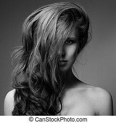 유행, 초상, 의, 아름다운, woman., 꼬부라진, 길게, hair., bw, 심상
