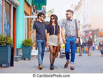 유행, 친구, 걷기, 도시, 거리