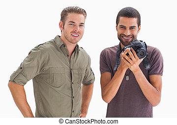 유행, 친구, 미소, 와, 하나, 보유 사진기