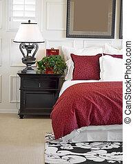 유행, 침실, 내부, 에서, 새로운, hom