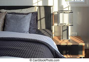 유행, 침실, 내부, 장식적이다, 와, 현대, 침대 곁의 테이블, 램프