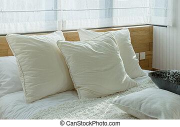 유행, 침실, 실내 디자인, 와, 백색, 베개, 통하고 있는, bed.