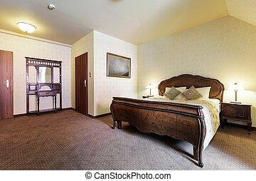 유행, 침실, 에서, retro, 디자인