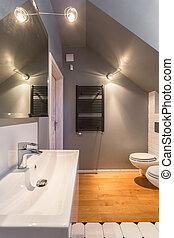 유행, 현대, 디자인, 화장실