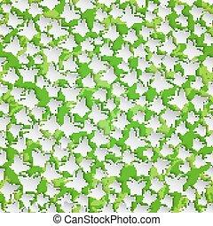 유행, 현대, 배경, seamless, 패턴, 와, 나비, 절단, 종이, 통하고 있는, 녹색, 꽃의, 배경.