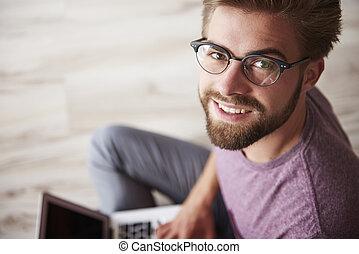 유행, 휴대용 퍼스널 컴퓨터, 현대, 남자, 을 사용하여