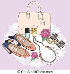 유행, jewelery, essentials., 구두, 구성, 색안경, flowers., 배경, 가방