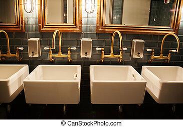 유행, washroom, 에서, 레스토랑