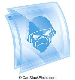 육군, 아이콘, 파랑, 고립된, 백색 위에서, 배경