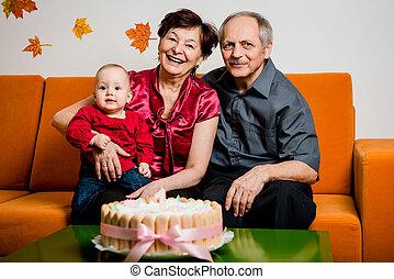 은퇴, -, 생일, 손자, 행복하다, 처음
