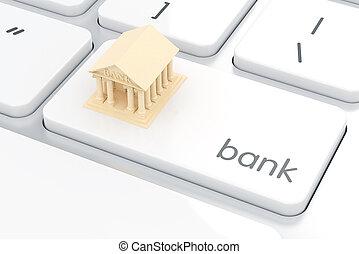 은행, 아이콘, 통하고 있는, 그만큼, 백색, 컴퓨터, keyboard., e- 은행, 개념