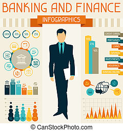 은행 업무와 금융, infographics.
