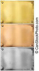 은, 금, 청동, 금속, 판, 와, 대갈못, 세트, 고립된