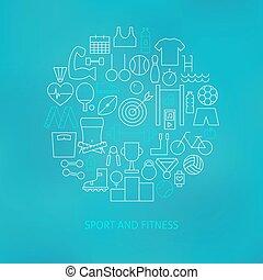 은 선을 엷게 한다, 스포츠와 적당, 아이콘, 세트, 원, 은 형성했다, 개념