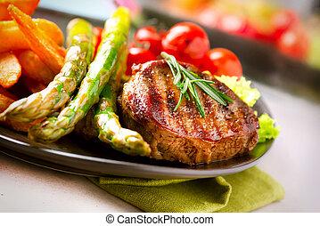 은 야채를 구웠다, 스테이크, 고기, 쇠고기
