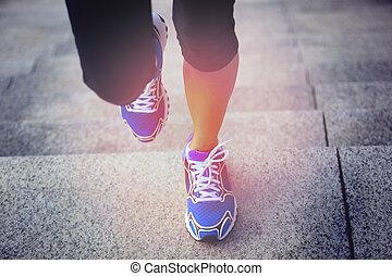 은 여자를, 다리, 달리기
