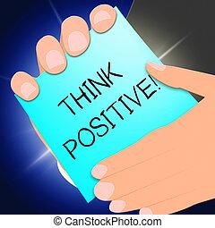 은 의미한다, 긍정적인, 삽화, 낙천주의의, 생각하다, 생각, 3차원