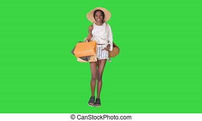 은 자루에 넣는다, 걷고 있는 여성, afro, 녹색, key., 나이 적은 편의, 스크린, 쇼핑, chroma, 유행