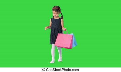 은 자루에 넣는다, 걷기, 소녀, 스크린, 거의, chroma, 아름다운, 검정, key., 의복, 쇼핑, ...
