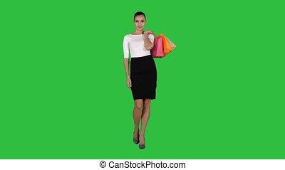 은 자루에 넣는다, 걷기, 쇼핑하고 있는 여성, chroma, shopping!, 스크린, 은, 녹색, key., 가다
