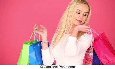 은 자루에 넣는다, 그녀, shopaholic, 나이 적은 편의, 나름, 행복하다