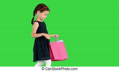 은 자루에 넣는다, 녹색, 스크린, 검정, 어린 소녀, 아름다운, 걷기, 의복, 쇼핑, chroma, key...