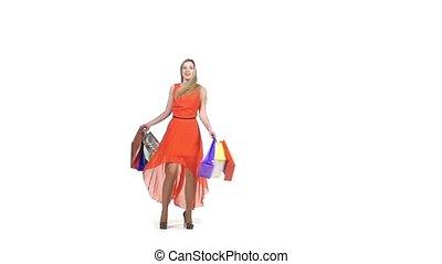 은 자루에 넣는다, 대범한, 쇼핑, 블론드, 아름다운, 기계의 운전, 나이 적은 편의, 배경, 소녀, 의복, 하얀 빨강
