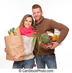 은 자루에 넣는다, 쇼핑하고 있는 식료 잡화, 한 쌍, 행복하다
