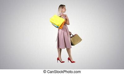 은 자루에 넣는다, 쇼핑하고 있는 여성, 경사, 젊음 봄, 배경., 상품 지열