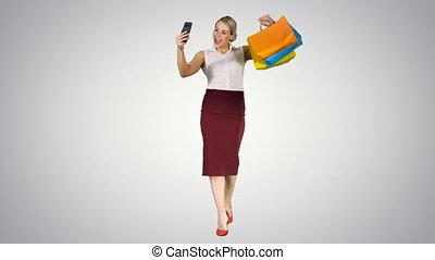 은 자루에 넣는다, 쇼핑하고 있는 여성, 경사, 취득, 배경., ?heerful, selfie