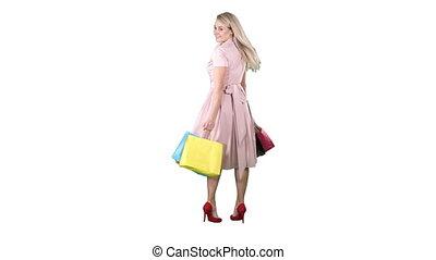 은 자루에 넣는다, 쇼핑하고 있는 여성, 그녀, 배경., 젊음 봄, 회전, 카메라, 손, 제작, 백색, 행복하다