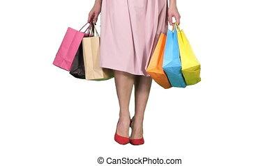 은 자루에 넣는다, 쇼핑하고 있는 여성, 다채로운, 나이 적은 편의, 배경., 나름, 백색, 다리