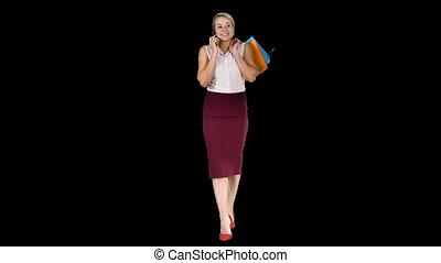 은 자루에 넣는다, 쇼핑하고 있는 여성, 말하는 것, 전화, 알파 채널