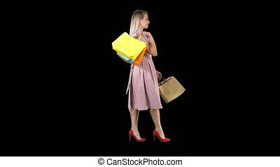 은 자루에 넣는다, 쇼핑하고 있는 여성, 전시, 젊음 봄, 창문, 알파 채널