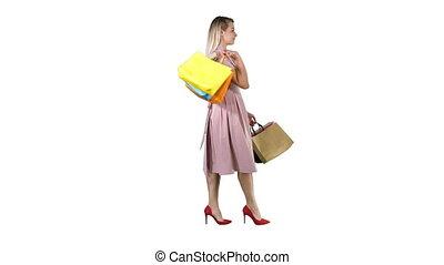 은 자루에 넣는다, 쇼핑하고 있는 여성, 젊음 봄, 배경., 창문, 백색, 전시