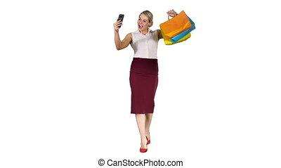 은 자루에 넣는다, 쇼핑하고 있는 여성, 취득, 배경., 백색, ?heerful, selfie