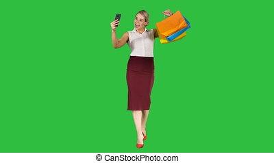 은 자루에 넣는다, 쇼핑하고 있는 여성, 취득, chroma, 스크린, 녹색, key., ?heerful, selfie