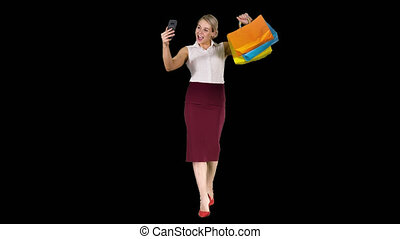 은 자루에 넣는다, 쇼핑하고 있는 여성, 취득, selfie, 쾌활한, 알파 채널