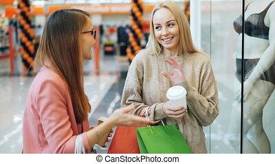 은 자루에 넣는다, 숙녀, underclothing, 쇼핑, 그때의, concept., 쇼핑 센터, 나이 ...