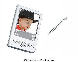 은, palmtop, (personal, organizer), /, 디지털 카메라, 위의, 백색, 와, screenshot, 의, 유아, 소년, 에서, 검정, 카우보이, hat., 발사, 와, 그만큼, 정전, 20d.