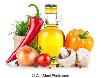 음식, 야채, 세트, 향미료를 요리하는