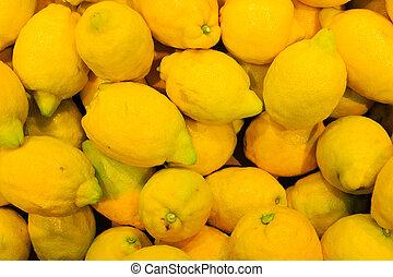 음식, 열대적인, 배경., 클로우즈업, 과일, lemons.