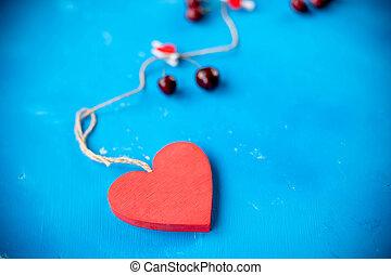 음식, 와..., 빨강 심혼, 개념, 통하고 있는, 파랑, background.fresh, 단 것, 빨강, 버찌, 치고는, a, 건강한 심혼, concept., 신선한, 장과, 와..., 심장, 고립된, 도태의, 초점., 사본 공간