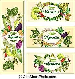 음식, 채식주의자, 배너, 유기체의, 야채