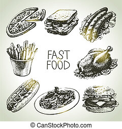 음식, fast, set., 삽화, 손, 그어진
