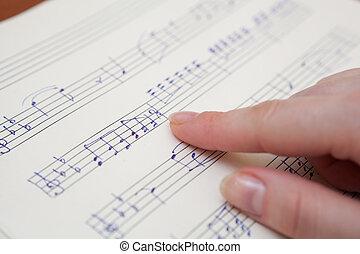 음악 책, 와, 손으로 쓰는, 주