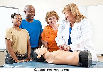 응급 치료, cpr, 학급, 치고는, 성인