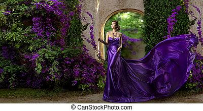 의복, 유행, 정원, 가운, 제왕의, 나는 듯이 빠른, 길게, 꽃, 여자, 제비꽃, 모델, 견직물