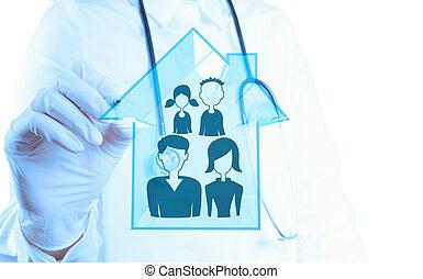 의사, 손, 그림, 가족 건강, 걱정, 아이콘, 가령...와 같은, 개념