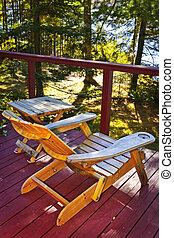의자, 통하고 있는, 시골집, 갑판